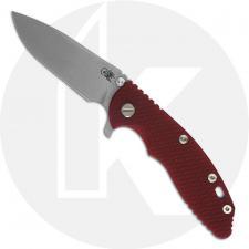 Hinderer Knives XM-18 3.5 Inch Knife - Slicer - Working Finish - 20CV - Tri Way Pivot - Red G-10