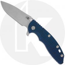 Hinderer Knives XM-18 3.5 Inch Knife - Slicer - Working Finish - 20CV - Tri Way Pivot - Blue / Black G-10 / Battle Blue Ti