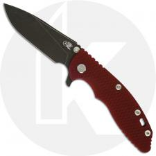 Hinderer Knives XM-18 3.5 Inch Knife - Slicer - Battle Black DLC - 20CV - Tri Way Pivot - Red G-10 / Battle Black DLC Ti