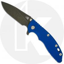 Hinderer Knives XM-18 3.5 Inch Knife - Slicer - Battle Black DLC - 20CV - Tri Way Pivot - Blue G-10 / Battle Black DLC Ti