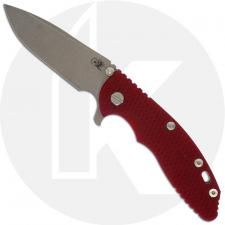 Hinderer Knives XM-18 3.5 Inch Knife - Spear Point - Working Finish - 20CV - Tri Way Pivot -Red G-10 / Working Finish Ti