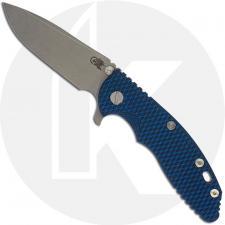 Hinderer Knives XM-18 3.5 Inch Knife - Spear Point - Working Finish - 20CV - Tri Way Pivot - Blue/Black G-10 / Working Finish Ti