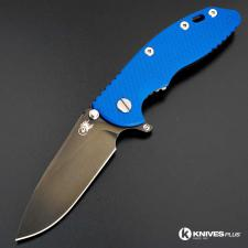 Hinderer Knives SKINNY XM-18 3.5 Inch Knife - Gen 6 Slicer - Stonewash Black DLC - Tri Way Pivot - Blue G-10 Handle