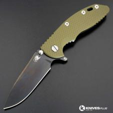 Hinderer Knives SKINNY XM-18 3.5 Inch Knife - Gen 6 Slicer - Stonewash Black DLC - Tri Way Pivot - OD Green G-10 Handle