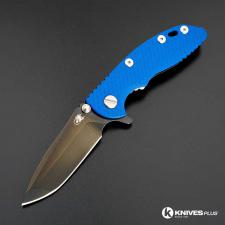 Hinderer Knives XM-18 3 Inch Knife - Spanto - Stonewash Black DLC - Tri Way Pivot - Blue G-10 Handle