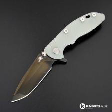 Hinderer Knives XM-18 3 Inch Knife - Spanto - Stonewash Black DLC - Tri Way Pivot - Translucent G-10 Handle
