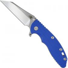 Hinderer Knives FATTY XM-18 3.5 Inch Knife - Gen 6 Wharncliffe - Stonewash - Tri Way Pivot - Blue G-10 Handle