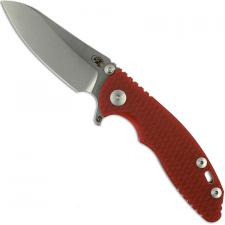 Hinderer Knives SKINNY XM-18 3 Inch Knife - Sheepsfoot - Stonewash - Tri Way Pivot - Red G-10