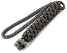 Schmuckatelli Lanyard - Cyber Pewter Bead - Black Oxide Finish - Black Cord - 4.A-CYBLBB