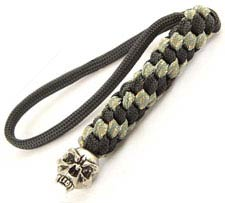 Schmuckatelli Lanyard - Fang Pewter Bead - Pewter Finish - Black and Digi Camo Cord - 4.A-FBLBDCP