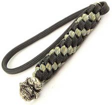 Schmuckatelli Lanyard - Grins Pewter Bead - Pewter Finish - Black and Digi Camo Cord - 4.A-GBLBDCP