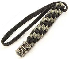 Schmuckatelli Lanyard - Ona Tiki Pewter Bead - Pewter Finish - Black and Digi Camo Cord - 4.A-OBLBDCP
