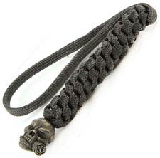 Schmuckatelli Lanyard - Rose Skull Pewter Bead - Black Oxide Finish - Black Cord - 4.A-RBLBB