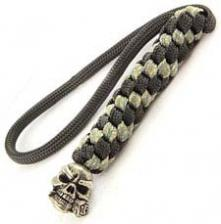 Schmuckatelli Lanyard - Rose Skull Pewter Bead - Pewter Finish - Black and Digi Camo Cord - 4.A-RBLBDCP