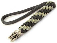 Schmuckatelli Lanyard - Spartan Pewter Bead - Pewter Finish - Black and Digi Camo Cord - 4.A-SPBLBDCP