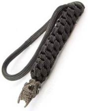 Schmuckatelli Lanyard - Sabretooth Pewter Bead - Black Oxide Finish - Black Cord - 4.A-STBLBB