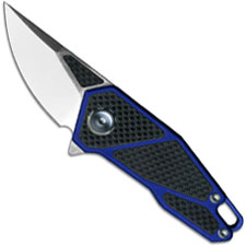 Stedemon A01ABLU Gents EDC Flipper Folding Knife Blue Aluminum and Carbon Fiber
