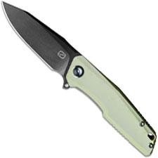 Stedemon ZKC C02D10 EDC Flipper Folding Knife Black Stonewash Clip Point Jade G10