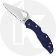 Spyderco Byrd Meadowlark 2 BY04PSBL2 Knife Value Price EDC Part Serrated Lock Back Folder Blue FRN