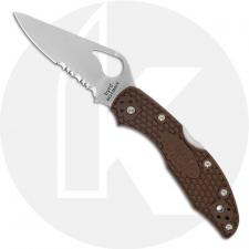 Spyderco Byrd Meadowlark 2 BY04PSBN2 Knife Value Price EDC Part Serrated Lock Back Folder Brown FRN