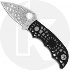 Spyderco S Knife C109BKP - Web Pattern Blade and Black Aluminum Handle - Discontinued Item - Serial Numbered - BNIB