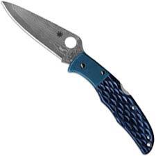 Spyderco Endura C10JBBP - 2012 Sprint Run - VG10 Damascus - Jigged Blue Bone and Blue Ti - Discontinued Item - Serial # - BNIB -