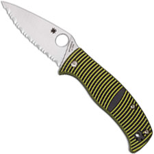 Spyderco C217GS Caribbean Rust Proof Serrated Leaf Blade Yellow and Black G10 Compression Lock Folder