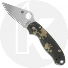 Spyderco C223GPCMO Para 3 Folding Knife Compression Lock Satin Blade Camo G10 USA Made