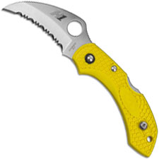 Spyderco C28SYL2HB Dragonfly 2 Salt Hawkbill Knife Serrated Rust Free Blade Yellow FRN Handle