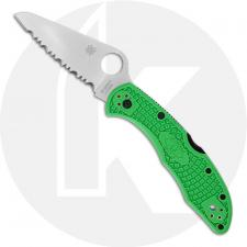 Spyderco Salt 2 Knife - C88FSGR2 - Serrated LC200N Drop Point - Green FRN - Lock Back