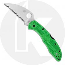 Spyderco Salt 2 Wharncliffe Knife - C88FSWCGR2 - Serrated LC200N Wharncliffe - Green FRN - Lock Back
