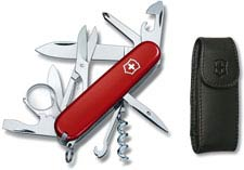 Victorinox Explorer 53823, 16 Function Multitool with Red Handle and Leather Pouch