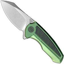WE Knife 717F Valiant Compact EDC Stonewash Frame Lock Flipper Green Ti and Carbon Fiber