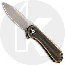 CIVIVI Mini Elementum C18062Q-1 - Gray 14C28N - Black Hand Rub Brass and Gray Steel - Frame Lock - Flipper Folder - Key Ring