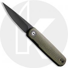CIVIVI Lumi C20024-1 - Black Stonewash 14C28N - Green Micarta  - Liner Lock - Front Flipper Folder