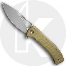 CIVIVI Riffle C2024B - Gray Stonewash 14C28N Drop Point - Olive Micarta - Liner Lock Flipper Folder