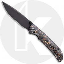 CIVIVI Imperium C2106C - Black Stonewash Nitro-V - Shredded Carbon Fiber and Copper Shred Resin - Liner Lock - Front Flipper Fol