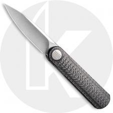 WE Knife Company 19074A-C Eidolon - Justin Lundquist EDC - Stonewash 20CV Drop Point - Twill Carbon Fiber Integral Handle - Line