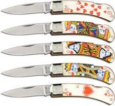 Western Knives Gambler Set - Royal Flush - Set of 5 Lock Back Folders - Discontinued Item - BNIB