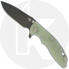 Hinderer Knives XM-18 3.5 Inch Knife - Slicer - Battle Black DLC - 20CV - Tri Way Pivot - Translucent G-10 / Battle Black DLC Ti