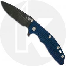 Hinderer Knives XM-18 3.5 Inch Knife - Slicer - Battle Black DLC - 20CV - Tri Way Pivot - Blue / Black G-10 / Battle Black DLC T
