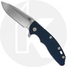 Hinderer Knives XM-18 3.5 Inch Knife - Spear Point - Stonewash - 20CV - Tri Way Pivot - Blue / Black G-10 / Stonewash Ti