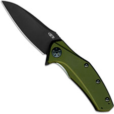Zero Tolerance 0770ODBLK Black DLC Assisted Flipper Knife OD Green Aluminum USA Made